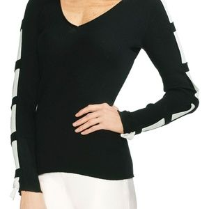 🆕🔥NWT VINCE CAMUTO Sweater Contrast Sleeve XL